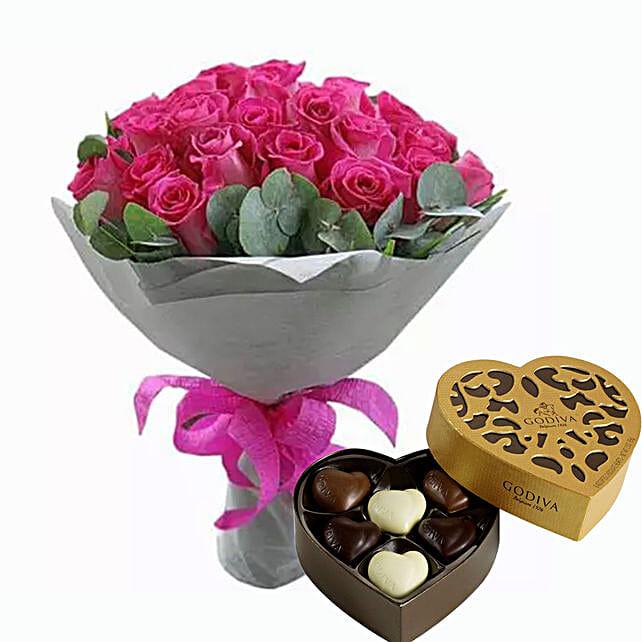 Dark Pink Roses Bunch & Godiva Chocolates