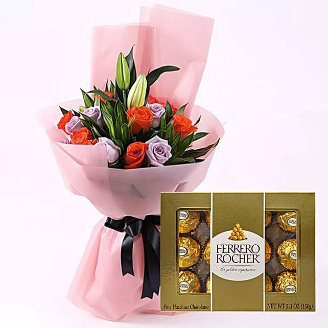 Elegant Flower Bouquet & Ferrero Rocher