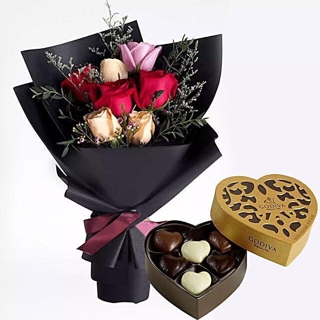 Mixed Roses Posy & Godiva Chocolates
