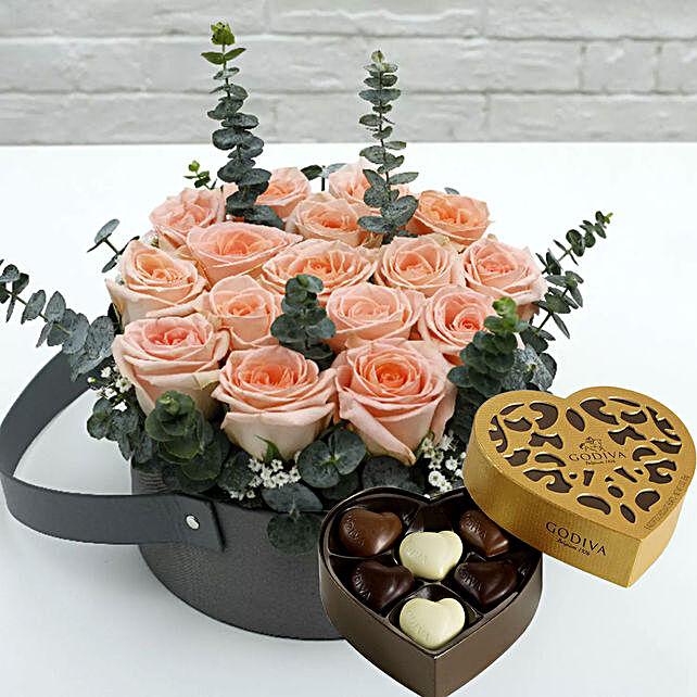 Sweet Pink Roses & Godiva Chocolates