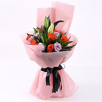 purple n orange roses bouquet online:Lilies  Delivery in Qatar