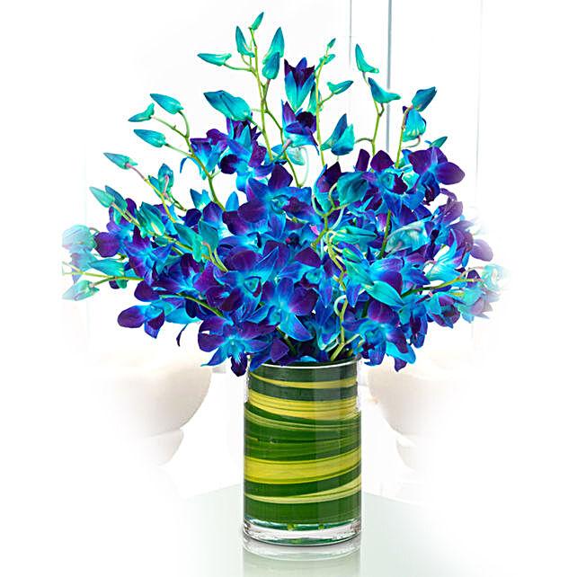 elegant blue orchids vase online