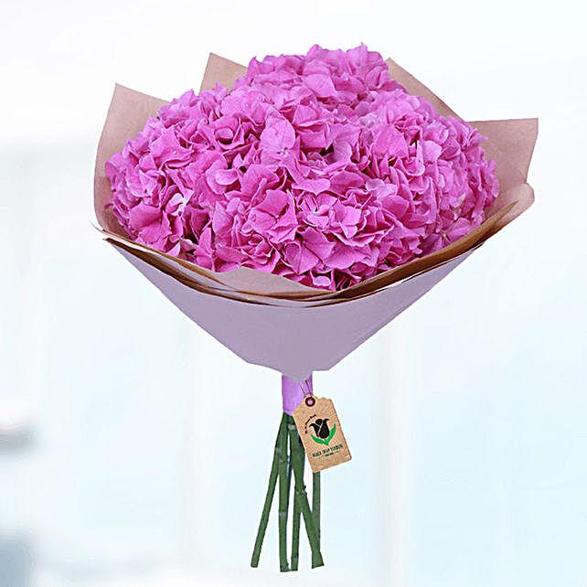 pink hydrangea bunch online:New Born Flowers to Qatar