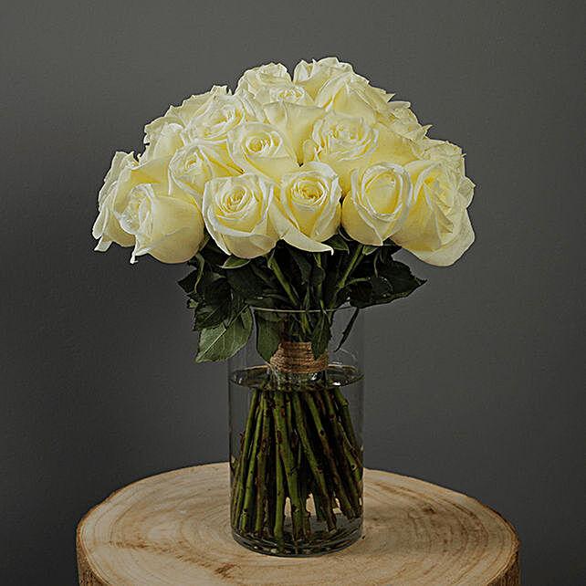 white roses vase arrangement online