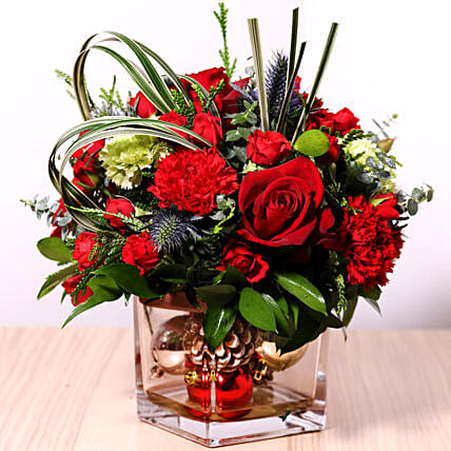 Decorative Xmas Floral Vase