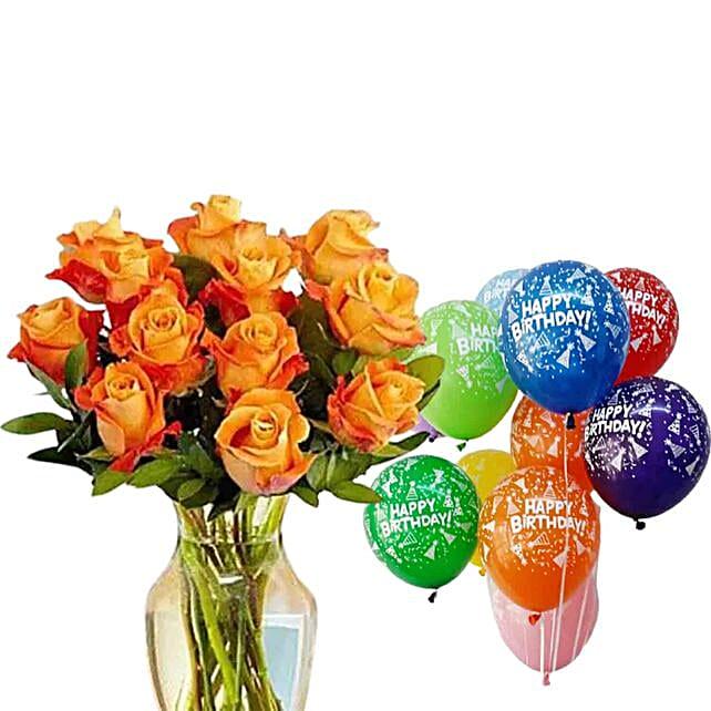 Orange Roses & Balloons Combo