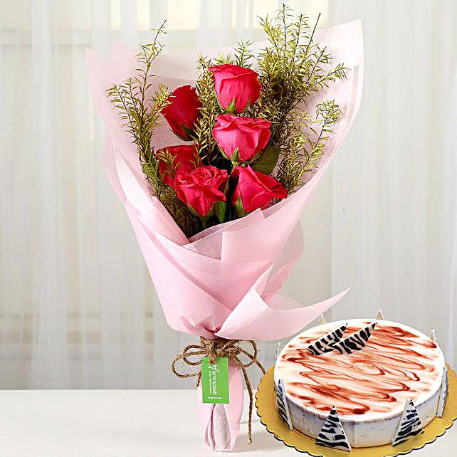 Pink Roses & Choco Vanilla Cake