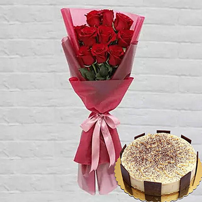 Ravishing Red Roses & Tiramisu Cake