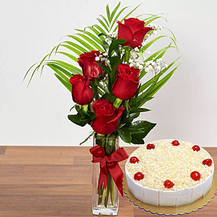 Red Roses & White Forest Cake