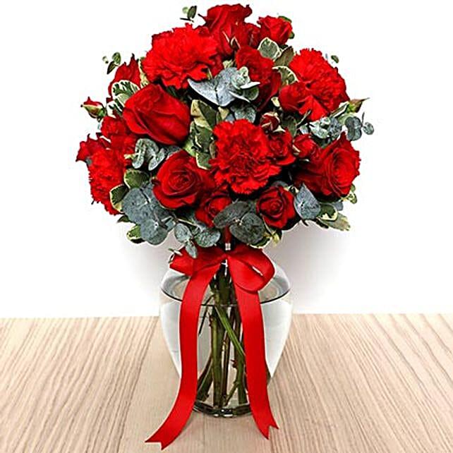 Romantic Red Flowers Vase