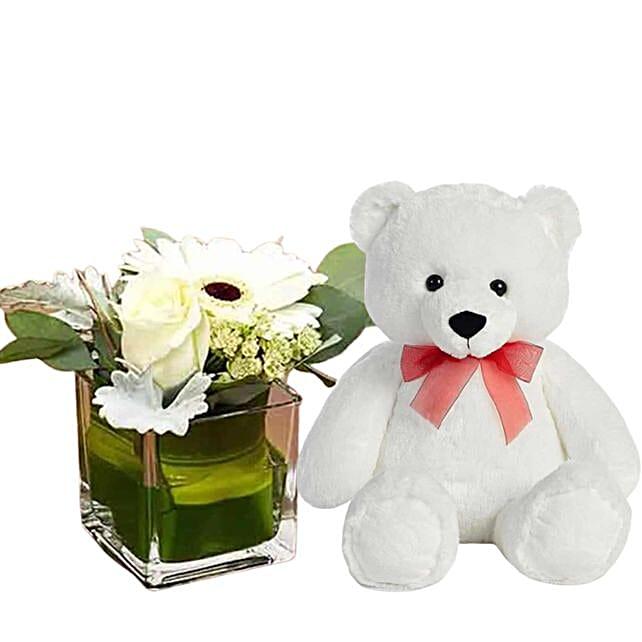 Serene White Flowers & Teddy Bear Combo
