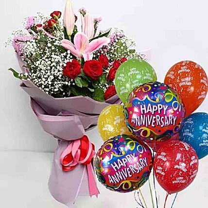 Anniversary Flowers Bouquet & Balloons Combo