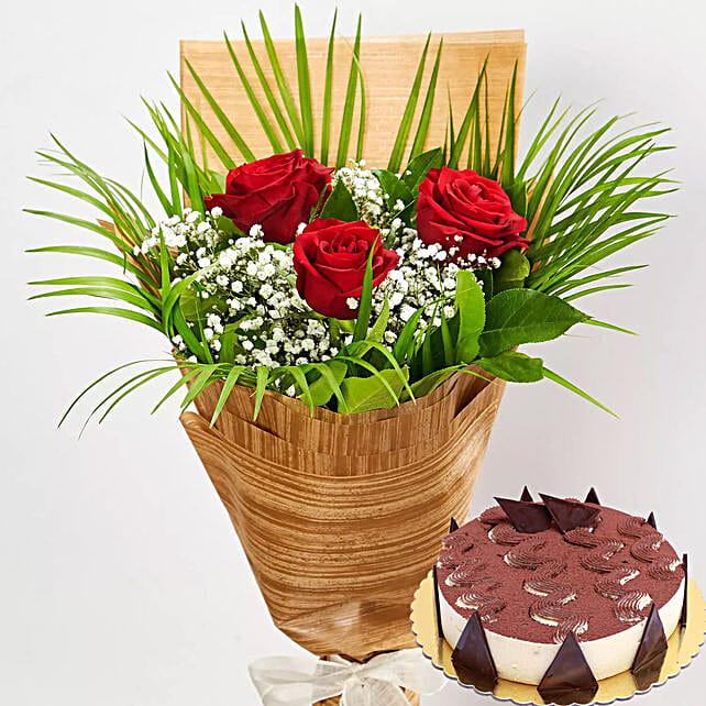 Beautiful Red Roses & Tiramisu Cake:Flower and Cake Delivery in Qatar