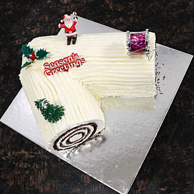 Large Vanilla Yule Log Cake:National Day Gifts