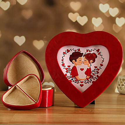 Red Heart Photo Frame And Jewellery Box:Valentine's Day Gift Delivery in Qatar