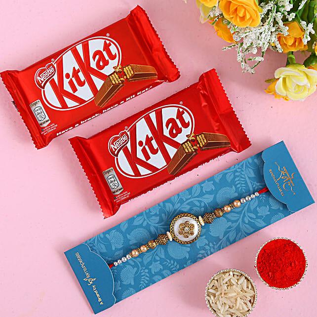 Ethnic Pearl Designer Rakhi And 2 Pcs Of Kitkat
