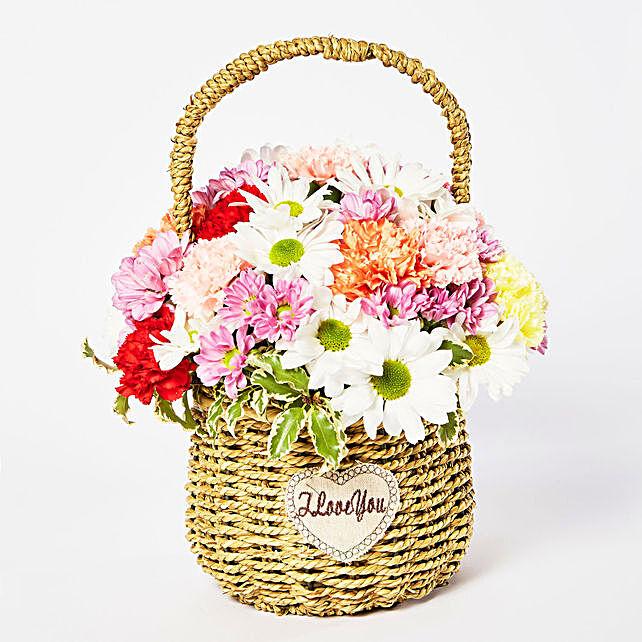 Exotic Mixed Flowers Cane Basket Arrangement