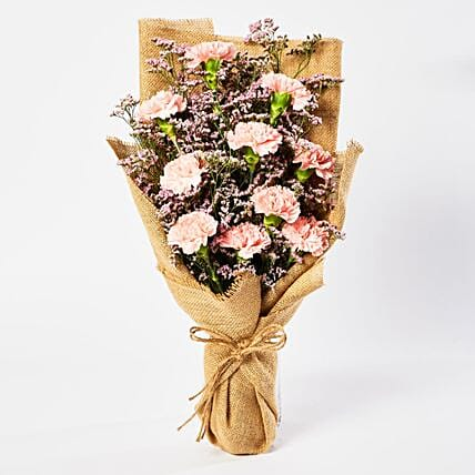 Lovely Pink Carnations Bouquet:Flower Delivery in Qatar