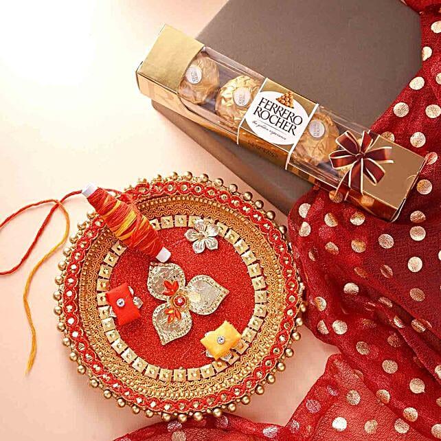 Bhai Dooj Pooja Thali And Chocolate With Teeka
