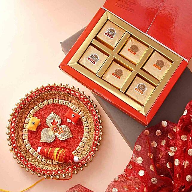 Pooja Thali With Sweets And Teeka