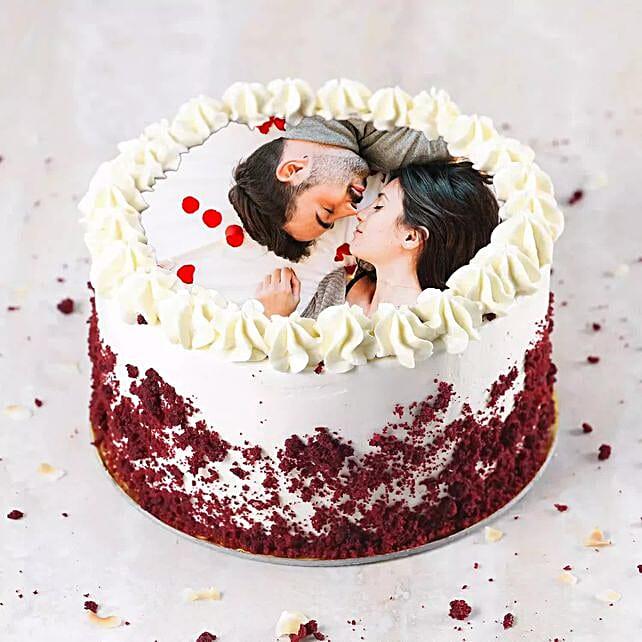 Velvety Photo Cake For Anniversary