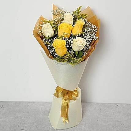 White and Yellow Roses Bouquet:Send Birthday Flowers to Qatar