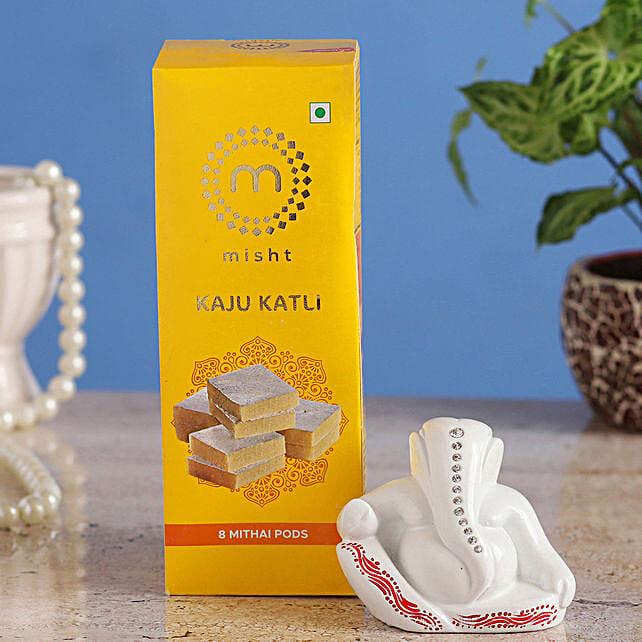 Online White Ganesha Idol & Misht Kaju Katli:Send Sweets to Qatar