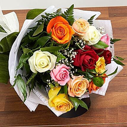12 Mixed Color Roses Bouquet:Send Flowers to Saudi Arabia