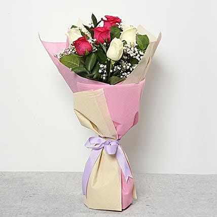 3 Pink And 3 White Roses Bouquet:Send Flowers to Saudi Arabia