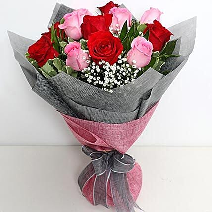 6 Pink And 6 Red Roses Bunch