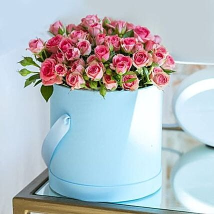 Baby Pink Roses Blue Box
