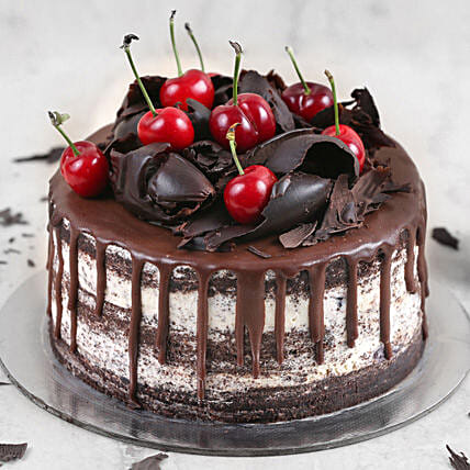 Delicate Black Forest Cake Half Kg:Send Anniversary Gifts To Saudi Arabia