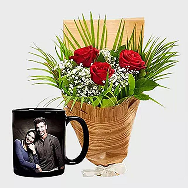 Personalised Mug And Red Roses