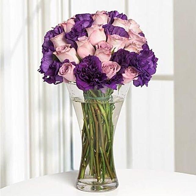 Purple Roses Vase