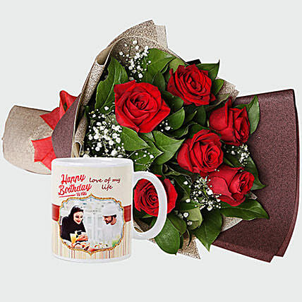 Roses Bouquet And Personalised Mug:Flower Delivery in Jeddah