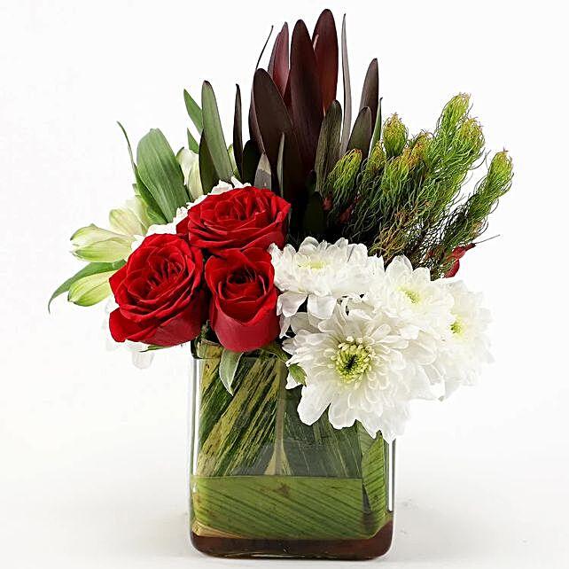 Roses & Chrysanthemums Glass Vase Arrangement