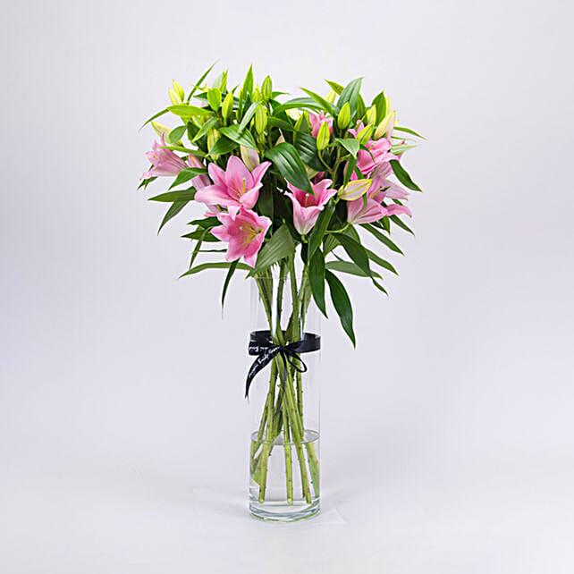 Serene Pink Oriental Lilies Vase Arrangement