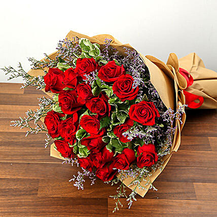 Stylish 20 Red Roses Bunch:Flower Delivery in Saudi Arabia