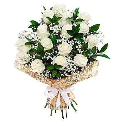 Soothing White Roses Bouquet