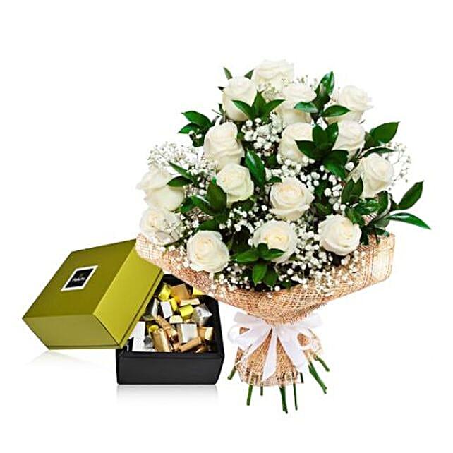 White Roses N Chocolates Combo