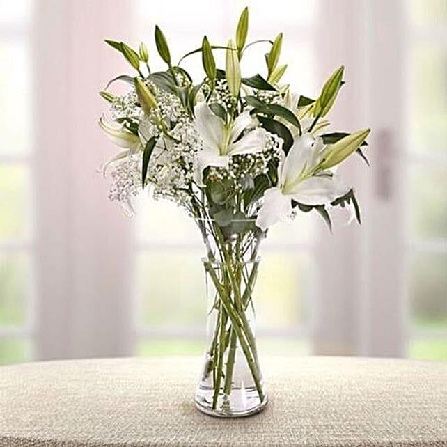 Lily Vase Arrangement:Lilies to Saudi Arabia