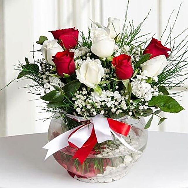 Mixed Roses Flower Vase