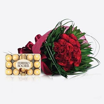 Red Roses N Chocolates Combo:Send Flower Bouquet to Saudi Arabia