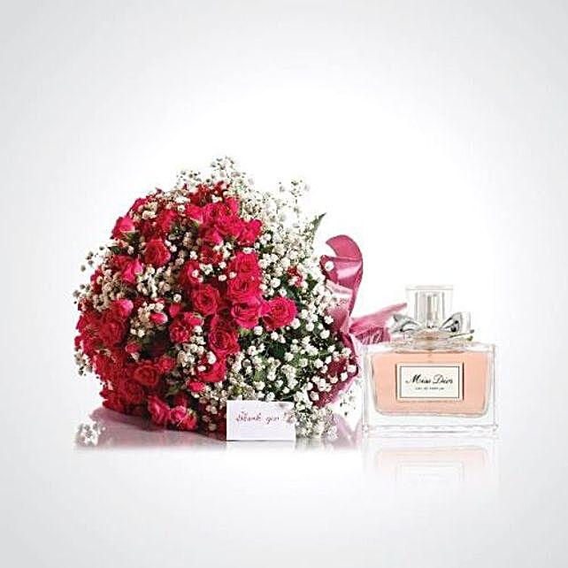 Red Roses With Miss Dior Perfume Combo:Send Perfume to Saudi Arabia