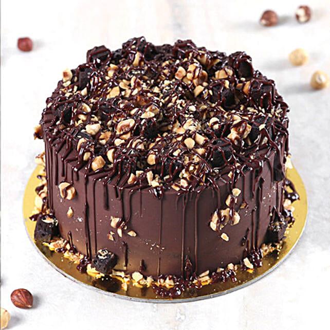 Crunchy Chocolate Hazelnut Cake Half Kg:Send Birthday Gifts to Saudi Arabia