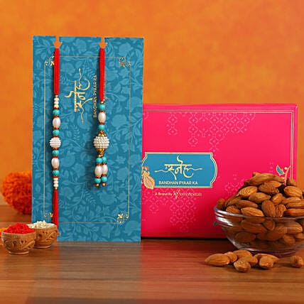 Blue Pearl And Lumba Rakhi Set With Healthy Almonds