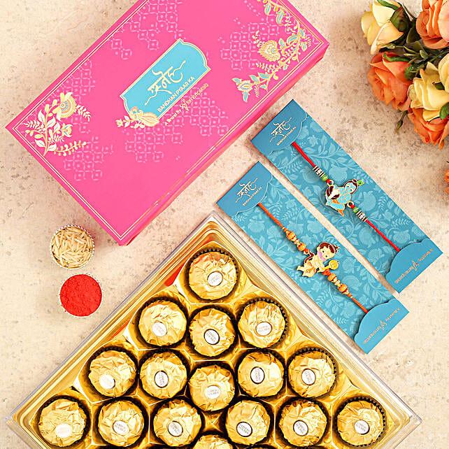 Devotional Kids Rakhi Set And 16 Pcs Ferrero Rocher