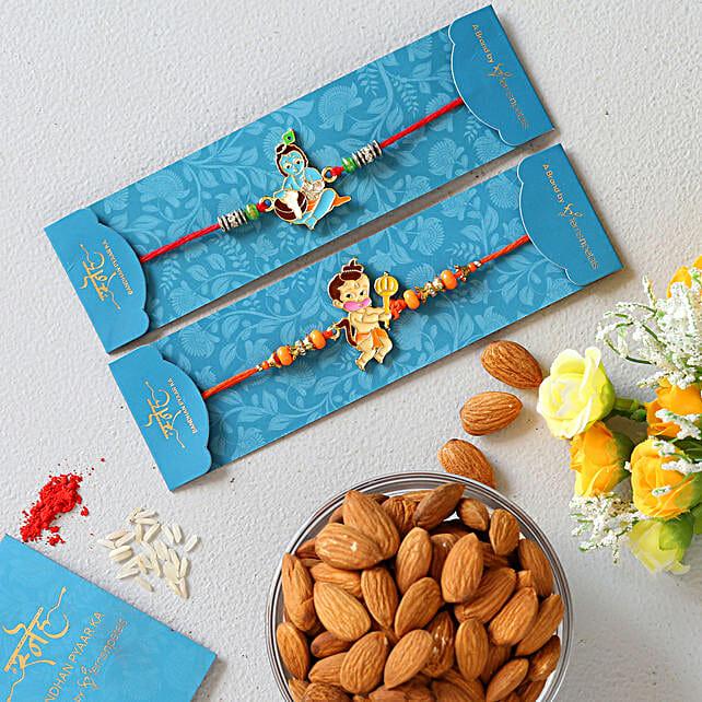 Devotional Kids Rakhi Set And Healthy Almonds