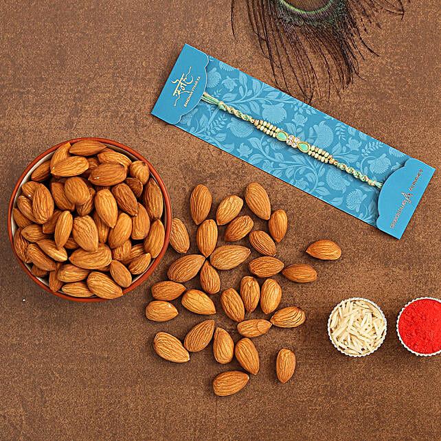 Green Pearl Designer Rakhi And Healthy Almonds:Rakhi With Dry Fruits to Saudi Arabia