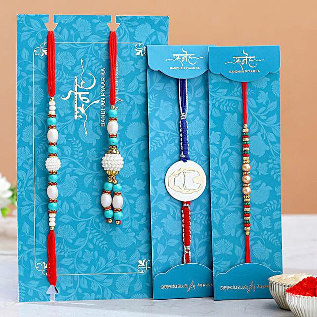 Ironman And Pearls Kids With Blue Pearls Lumba Rakhi Set